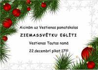 Vestienas pamatskolas Ziemassvētku eglīte Tautas namā 22.decembrī plkst. 17:00